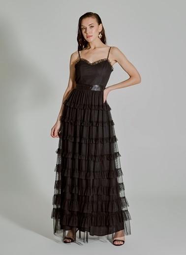 People By Fabrika Fırfırlı Tül Elbise Siyah